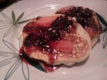 Applesauce Bacon Pancakes with Blackberry Butter Syrup