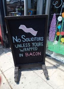 Not really an advertisement, but a funny sign for a business.