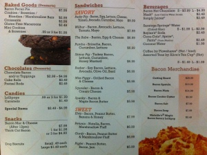 Baconery's To-Go Menu
