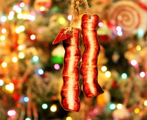 Wooden Bacon Ornaments from KithKinCrafts shop on Etsy.com