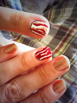 Our Bacon Day nail art.