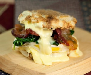 Egg Sandwich with Spinach, Brie and Maple Bacon by: Framed Cooks