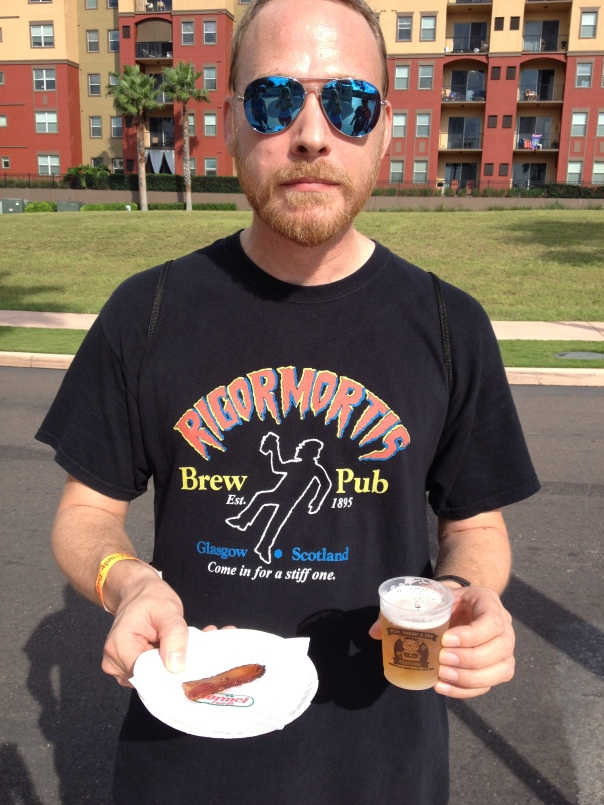 "Rick was very happy (cough) with his modest first pour and ""piece"" of bacon."